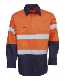 Hi Vis Day/Night Long Sleeve Cotton Drill Shirt