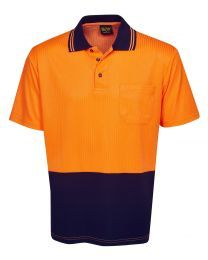 Hi Vis Drop Needle Short Sleeve Cotton Back Polo