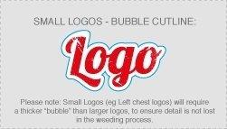 Small Logo Bubble cutline for full-colour digital t-shirt transfer artwork