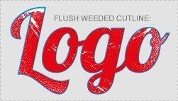 Flush weeded cutline for full-colour contour cut digital t-shirt transfer artwork, closest cut line