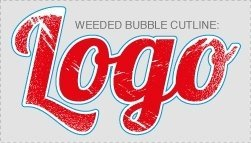 Weeded bubble cutline for full-colour digital transfer artwork, internal detail removed